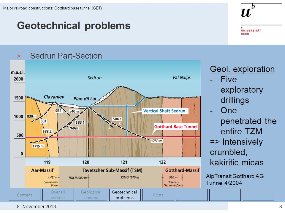 8. November 2013 Major railroad constructions: Gotthard base tunnel (GBT) 8 Geotechnical problems > Sedrun Part-Section Content Overall context Geolog