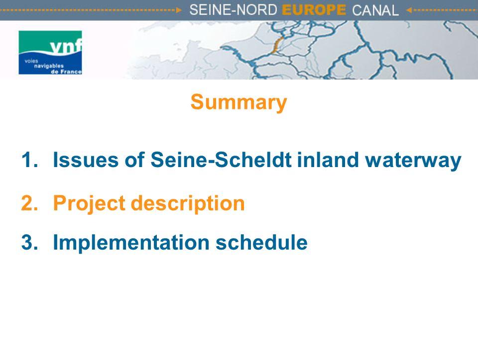 Summary 1.Issues of Seine-Scheldt inland waterway 2.Project description 3.Implementation schedule