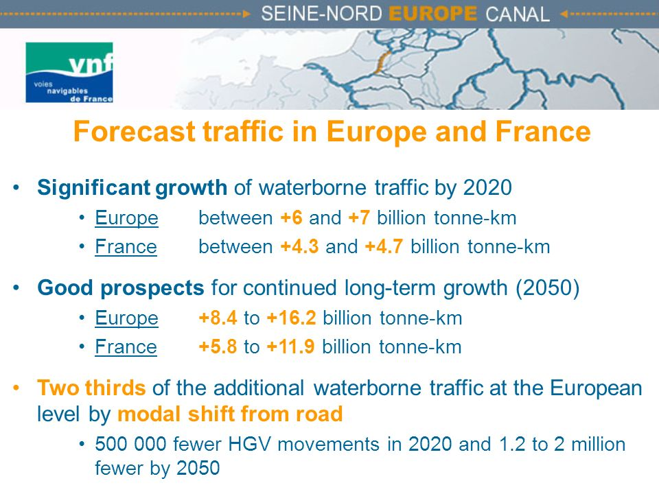 Forecast traffic in Europe and France Significant growth of waterborne traffic by 2020 Europe between +6 and +7 billion tonne-km France between +4.3 a