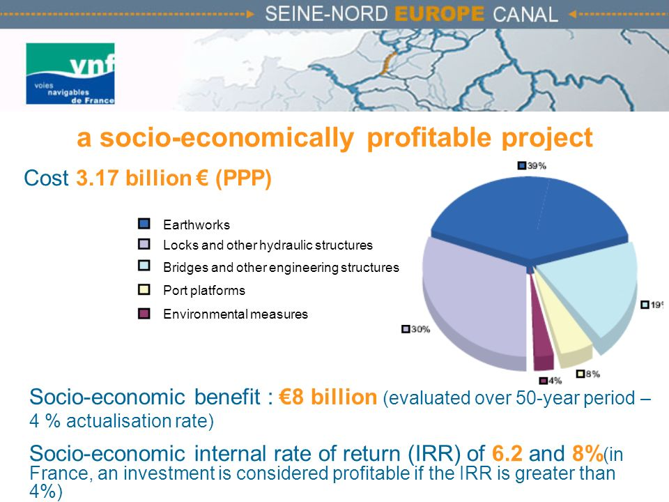 a socio-economically profitable project Cost 3.17 billion (PPP) Socio-economic benefit : 8 billion (evaluated over 50-year period – 4 % actualisation