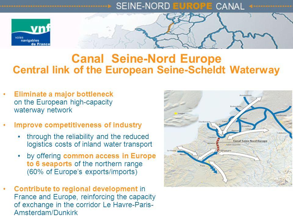 Canal Seine-Nord Europe Central link of the European Seine-Scheldt Waterway Eliminate a major bottleneck on the European high-capacity waterway networ