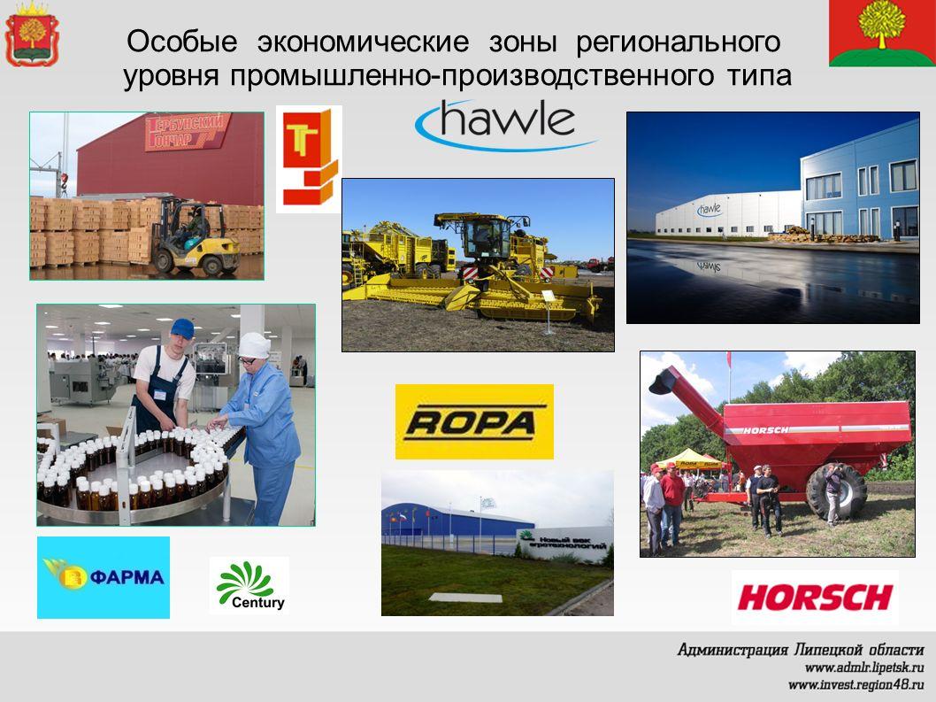 Особые экономические зоны регионального уровня промышленно-производственного типа