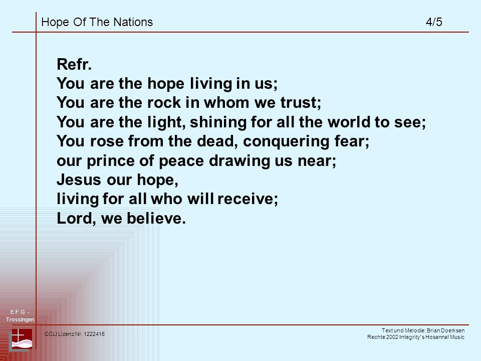Hope Of The Nations4/5 Refr.