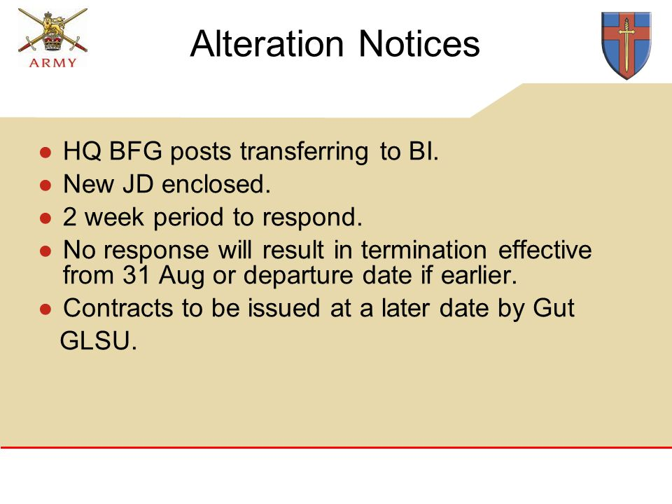 Alteration Notices HQ BFG posts transferring to BI.