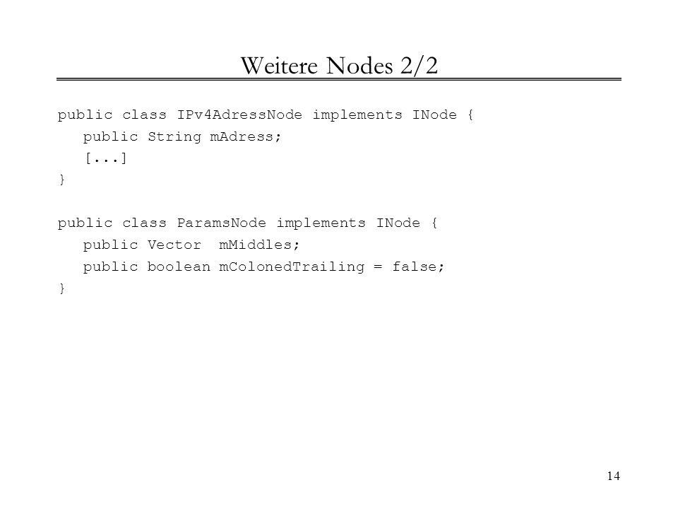 14 Weitere Nodes 2/2 public class IPv4AdressNode implements INode { public String mAdress; [...] } public class ParamsNode implements INode { public V