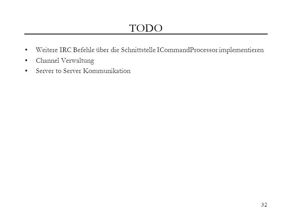 32 TODO Weitere IRC Befehle über die Schnittstelle ICommandProcessor implementieren Channel Verwaltung Server to Server Kommunikation