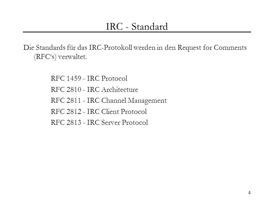 4 IRC - Standard Die Standards für das IRC-Protokoll werden in den Request for Comments (RFCs) verwaltet. RFC 1459 - IRC Protocol RFC 2810 - IRC Archi