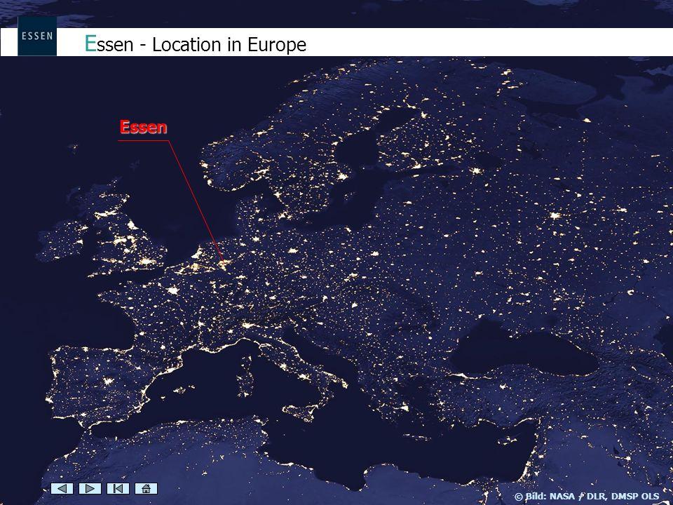 Essen © Bild: NASA / DLR, DMSP OLS E ssen - Location in Europe