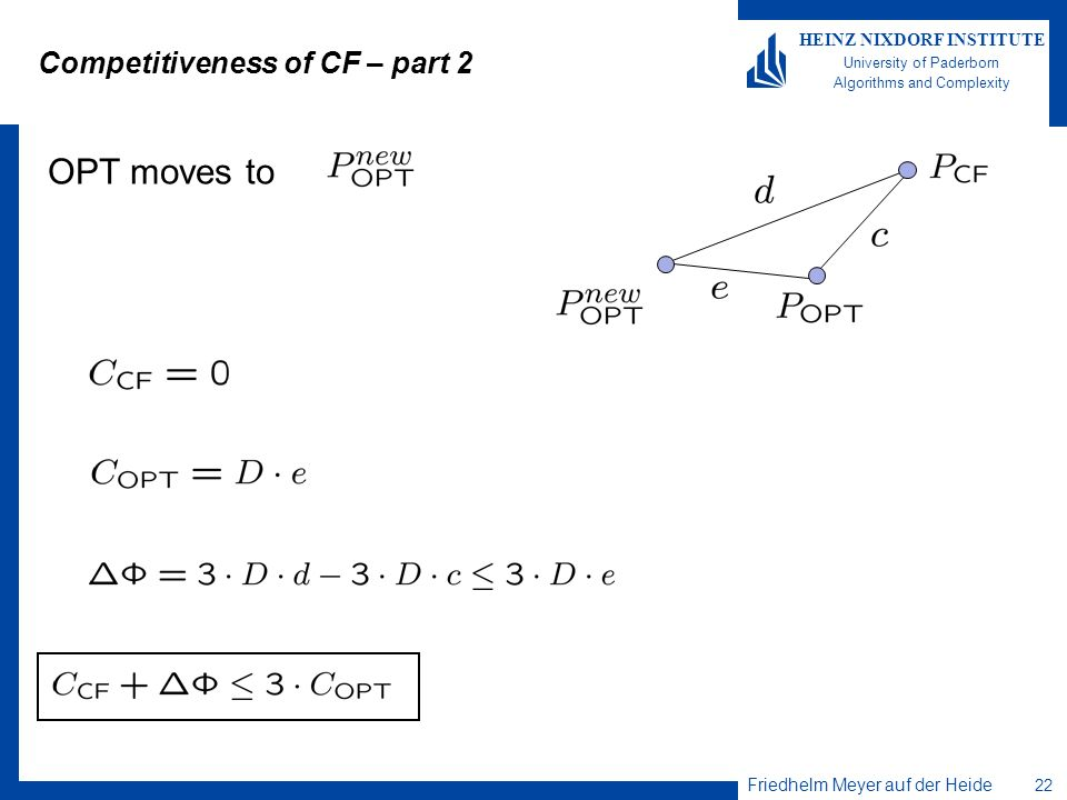 Friedhelm Meyer auf der Heide 22 HEINZ NIXDORF INSTITUTE University of Paderborn Algorithms and Complexity Competitiveness of CF – part 2 OPT moves to