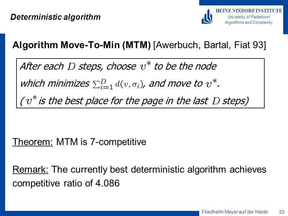 Friedhelm Meyer auf der Heide 23 HEINZ NIXDORF INSTITUTE University of Paderborn Algorithms and Complexity Deterministic algorithm Algorithm Move-To-M