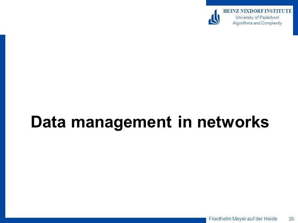 Friedhelm Meyer auf der Heide 25 HEINZ NIXDORF INSTITUTE University of Paderborn Algorithms and Complexity Data management in networks
