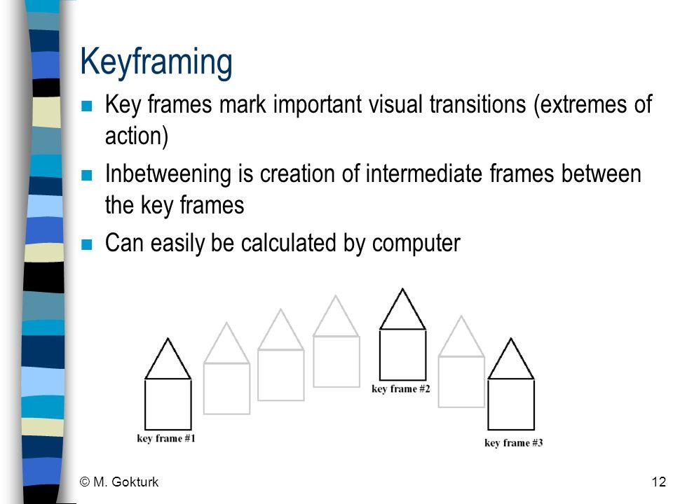 © M. Gokturk12 Keyframing n Key frames mark important visual transitions (extremes of action) n Inbetweening is creation of intermediate frames betwee
