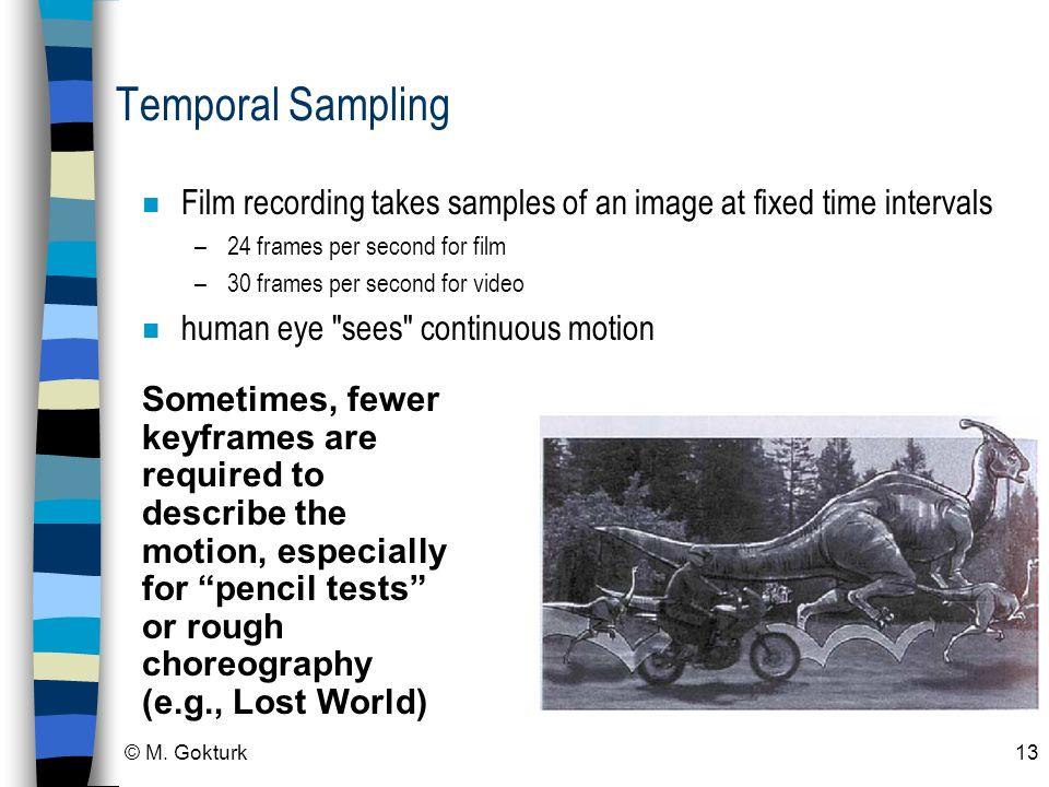 © M. Gokturk13 Temporal Sampling n Film recording takes samples of an image at fixed time intervals –24 frames per second for film –30 frames per seco