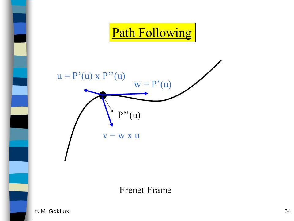 © M. Gokturk34 Path Following w = P(u) P(u) u = P(u) x P(u) v = w x u Frenet Frame