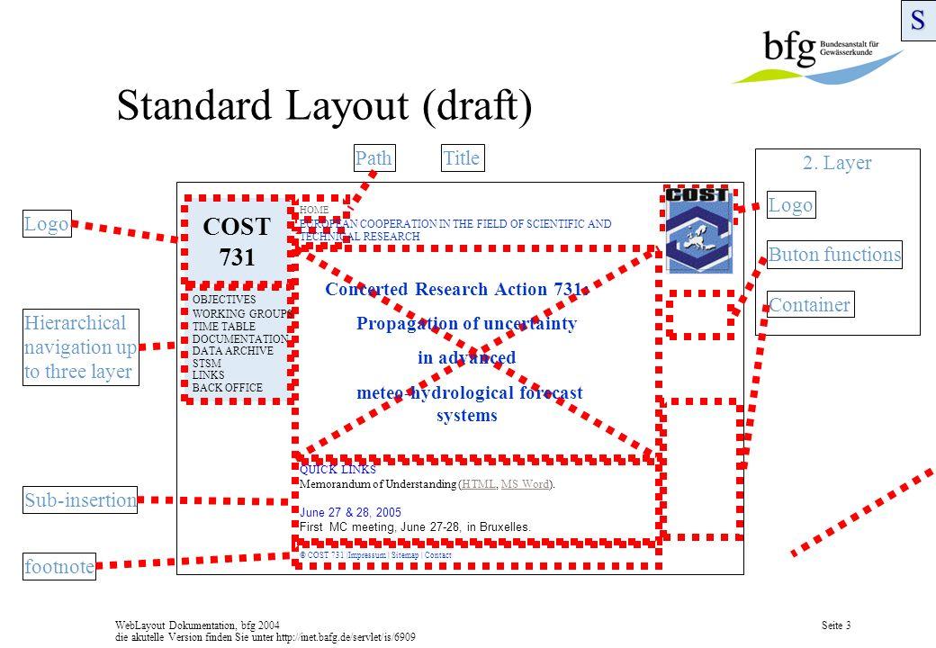 WebLayout Dokumentation, bfg 2004 die akutelle Version finden Sie unter http://inet.bafg.de/servlet/is/6909 Seite 3 2.