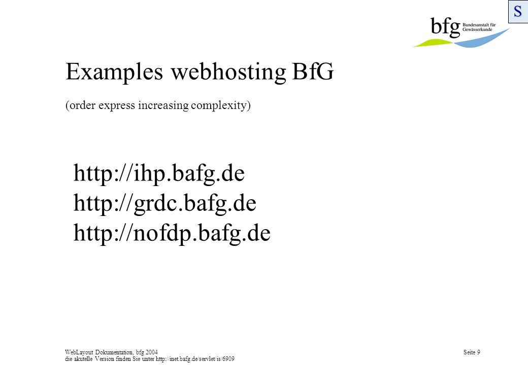 WebLayout Dokumentation, bfg 2004 die akutelle Version finden Sie unter http://inet.bafg.de/servlet/is/6909 Seite 9 Examples webhosting BfG (order express increasing complexity)S http://ihp.bafg.de http://grdc.bafg.de http://nofdp.bafg.de