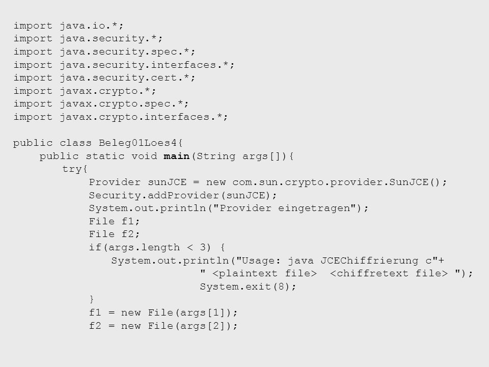 import java.io.*; import java.security.*; import java.security.spec.*; import java.security.interfaces.*; import java.security.cert.*; import javax.cr