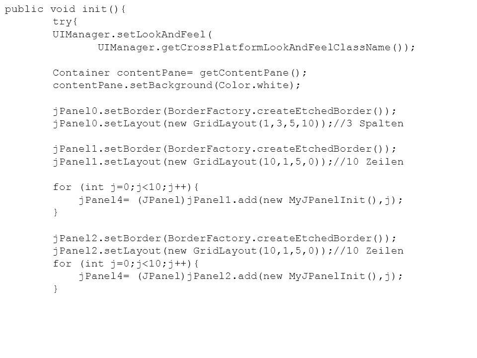 public void init(){ try{ UIManager.setLookAndFeel( UIManager.getCrossPlatformLookAndFeelClassName()); Container contentPane= getContentPane(); content