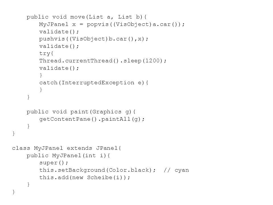 public void move(List a, List b){ MyJPanel x = popvis((VisObject)a.car()); validate(); pushvis((VisObject)b.car(),x); validate(); try{ Thread.currentT