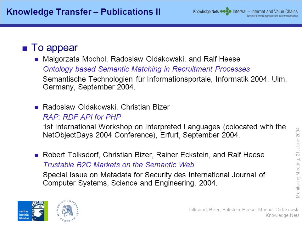 Tolksdorf, Bizer, Eckstein, Heese, Mochol, Oldakowski Knowledge Nets Monitoring Meeting, 21. June 2004 Knowledge Transfer – Publications II To appear