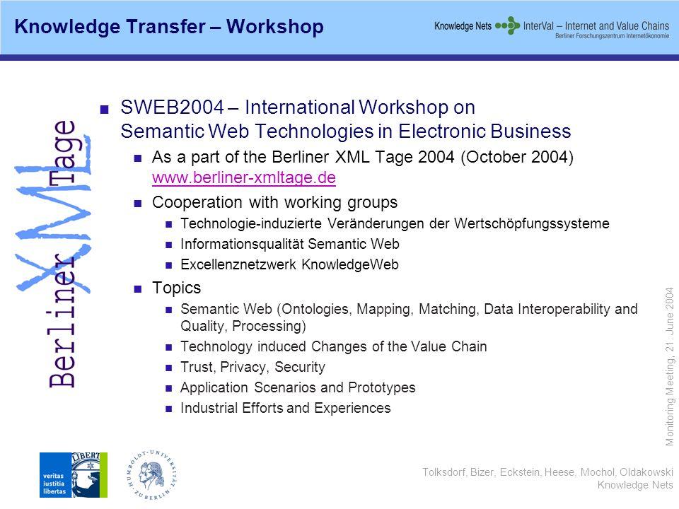 Tolksdorf, Bizer, Eckstein, Heese, Mochol, Oldakowski Knowledge Nets Monitoring Meeting, 21. June 2004 SWEB2004 – International Workshop on Semantic W
