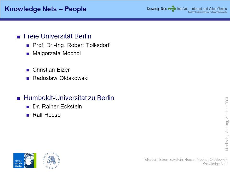Tolksdorf, Bizer, Eckstein, Heese, Mochol, Oldakowski Knowledge Nets Monitoring Meeting, 21. June 2004 Knowledge Nets – People Freie Universität Berli