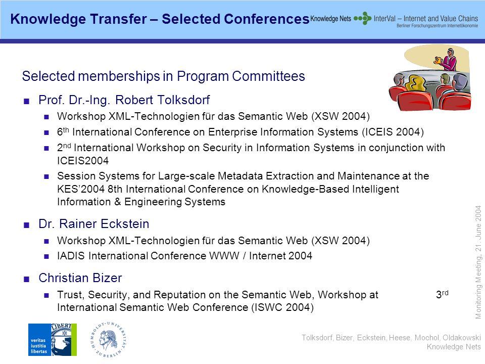 Tolksdorf, Bizer, Eckstein, Heese, Mochol, Oldakowski Knowledge Nets Monitoring Meeting, 21. June 2004 Selected memberships in Program Committees Prof