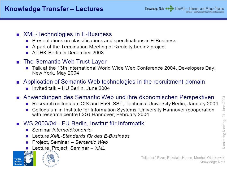 Tolksdorf, Bizer, Eckstein, Heese, Mochol, Oldakowski Knowledge Nets Monitoring Meeting, 21. June 2004 Knowledge Transfer – Lectures XML-Technologies