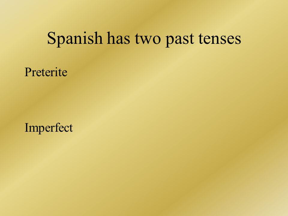 Spanish has two past tenses Preterite Imperfect