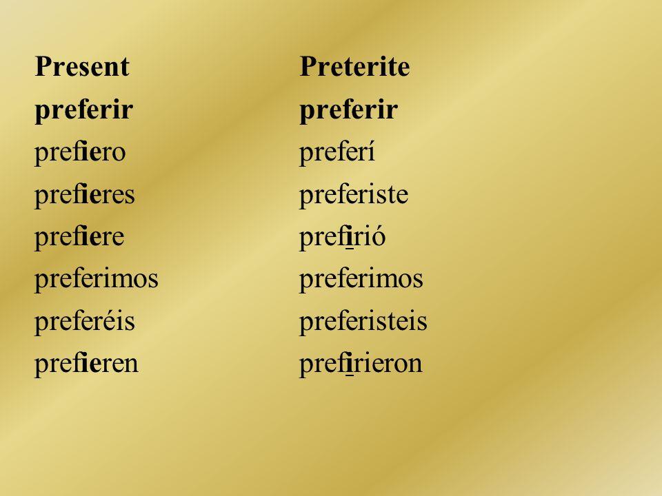 PresentPreteritepreferir prefieropreferí prefierespreferiste prefiereprefiriópreferimos preferéispreferisteis prefierenprefirieron