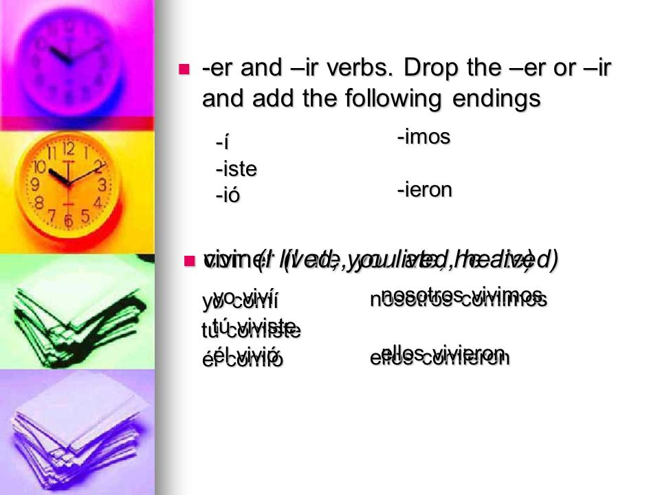 -er and –ir verbs. Drop the –er or –ir and add the following endings -er and –ir verbs. Drop the –er or –ir and add the following endings -í-í-í-í-ist