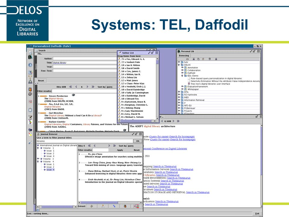 N. Fuhr: Evaluation Plans for TEL 2/2/06 Systems: TEL, Daffodil