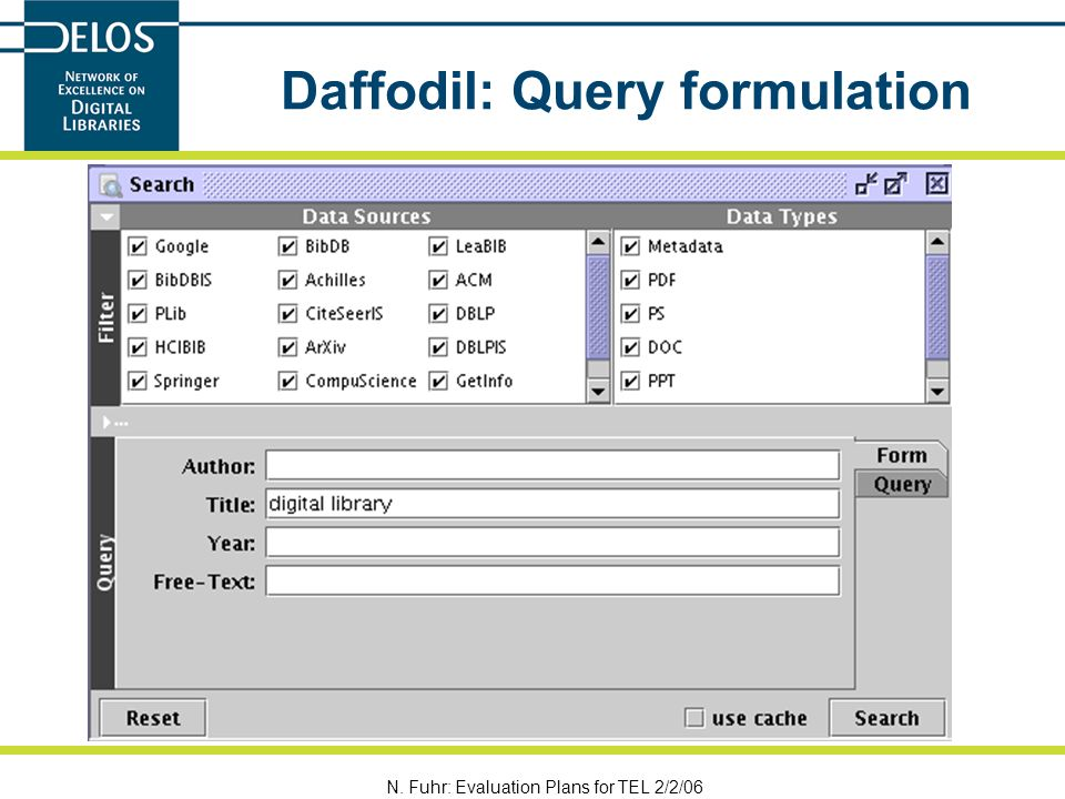N. Fuhr: Evaluation Plans for TEL 2/2/06 Daffodil: Query formulation