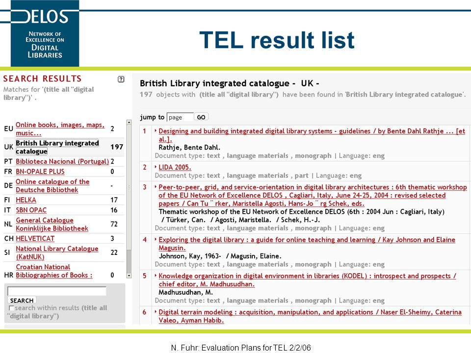 N. Fuhr: Evaluation Plans for TEL 2/2/06 TEL result list