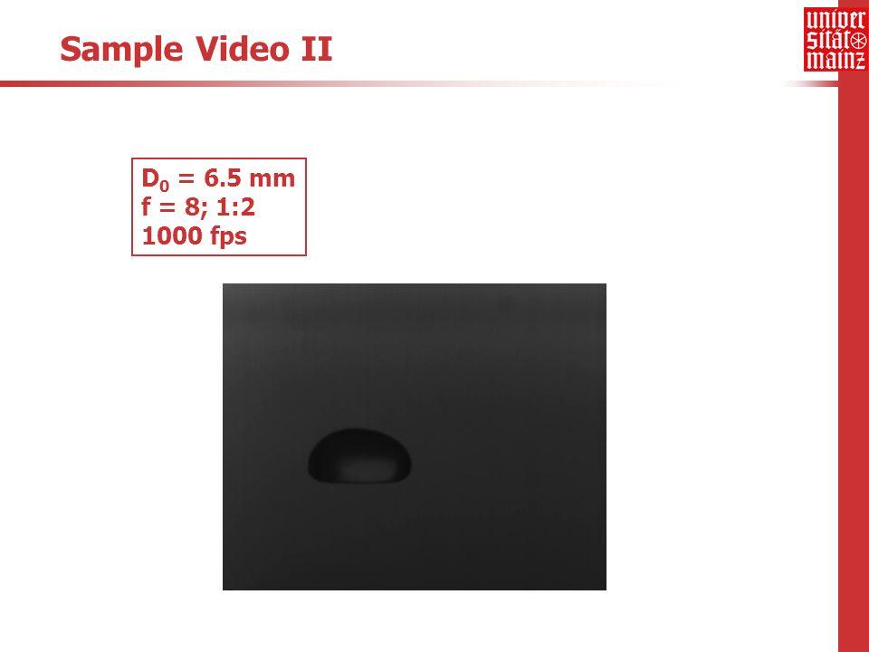 Sample Video II D 0 = 6.5 mm f = 8; 1:2 1000 fps