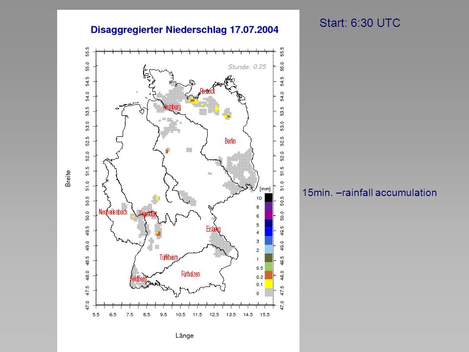 Start: 6:30 UTC 15min. –rainfall accumulation