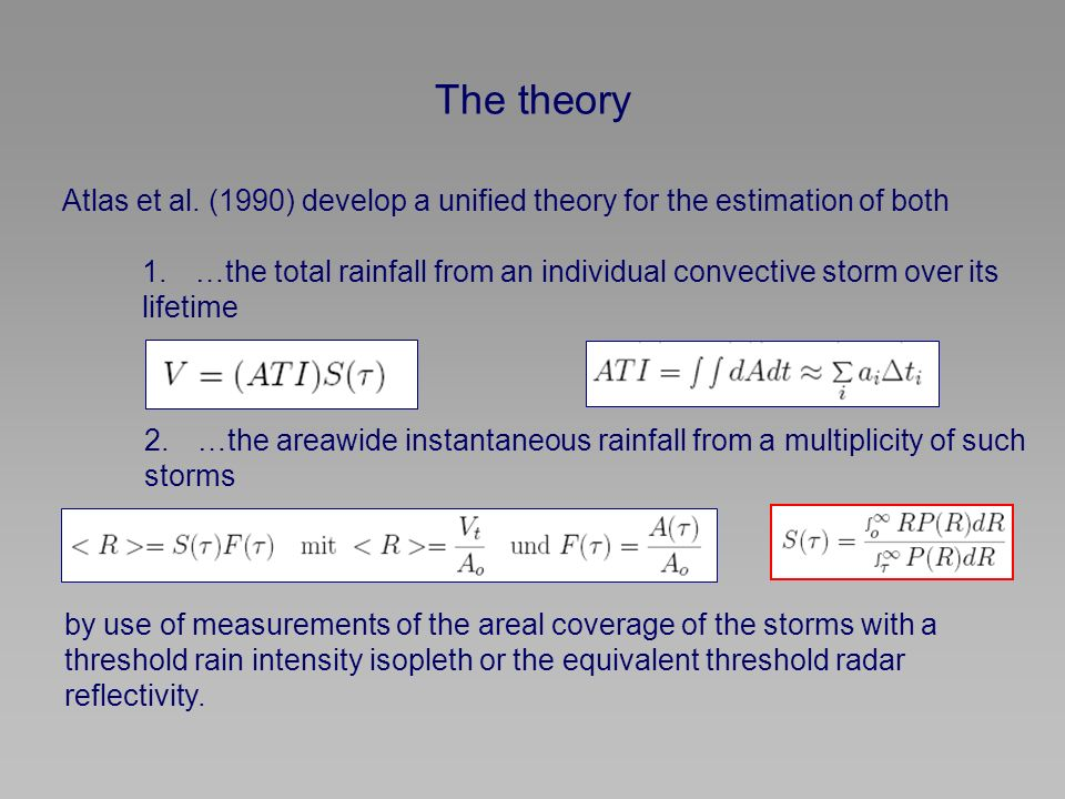 The theory Atlas et al. (1990) develop a unified theory for the estimation of both 1.…the total rainfall from an individual convective storm over its