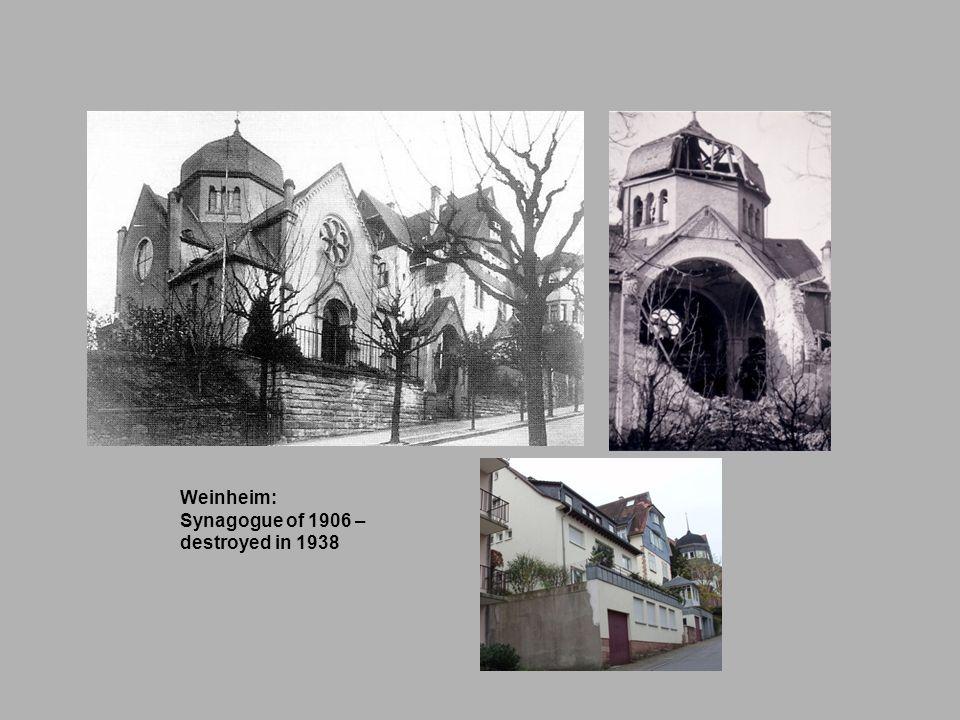 Weinheim: Synagogue of 1906 – destroyed in 1938
