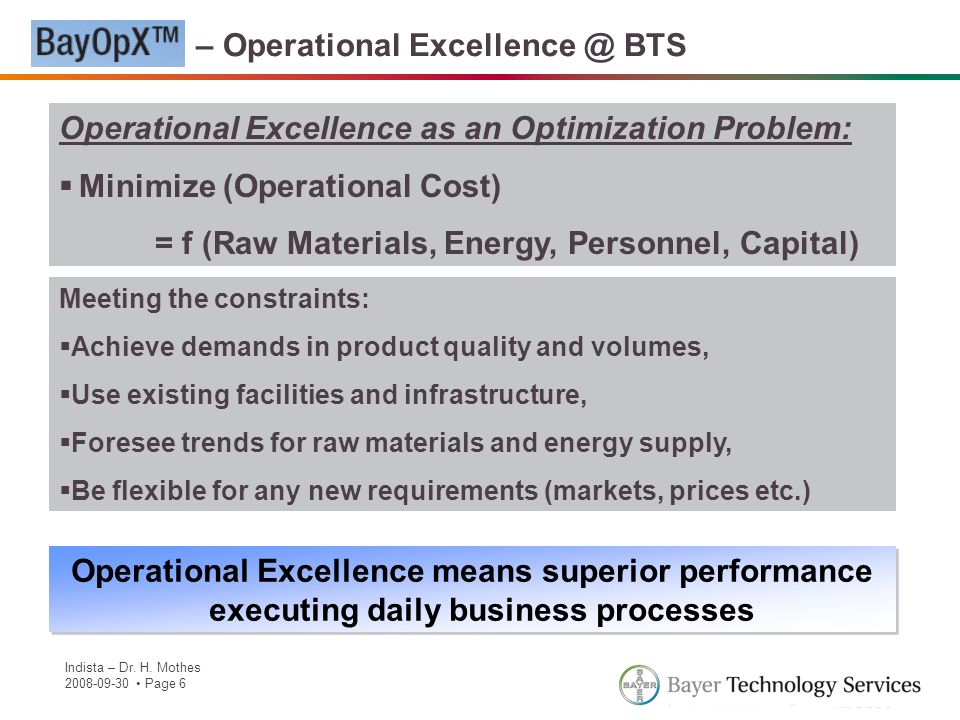 Indista – Dr. H. Mothes 2008-09-30 Page 6 BayOpX – Operational Excellence @ BTS Operational Excellence as an Optimization Problem: Minimize (Operation