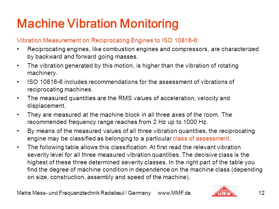 Metra Mess- und Frequenztechnik Radebeul / Germany www.MMF.de12 Machine Vibration Monitoring Vibration Measurement on Reciprocating Engines to ISO 108