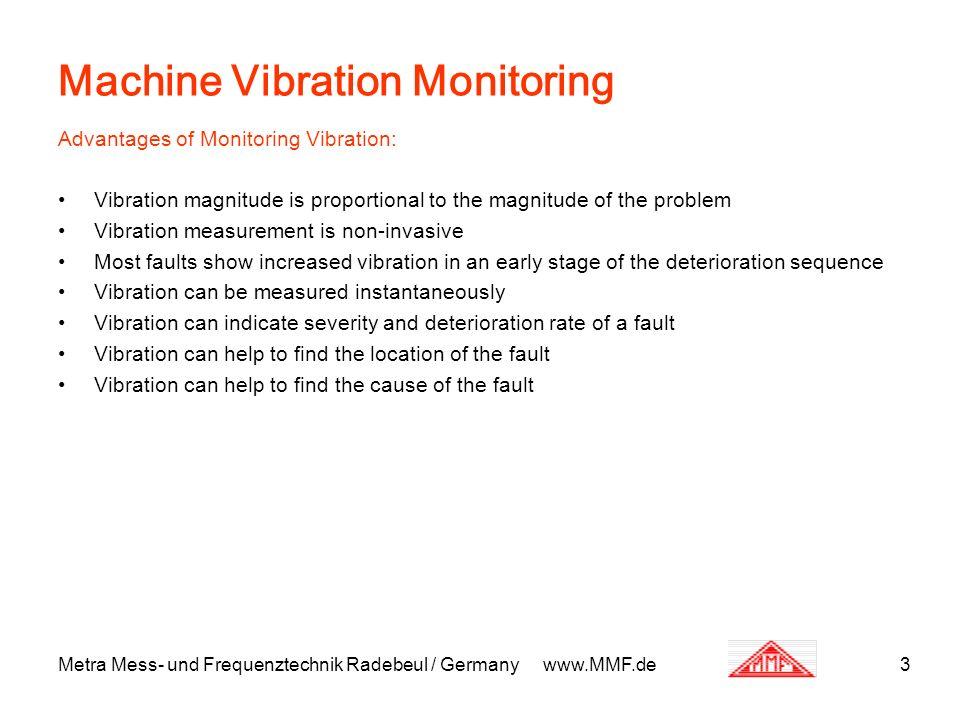 Metra Mess- und Frequenztechnik Radebeul / Germany www.MMF.de3 Machine Vibration Monitoring Advantages of Monitoring Vibration: Vibration magnitude is