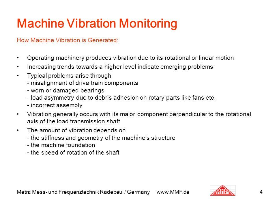Metra Mess- und Frequenztechnik Radebeul / Germany www.MMF.de4 Machine Vibration Monitoring How Machine Vibration is Generated: Operating machinery pr