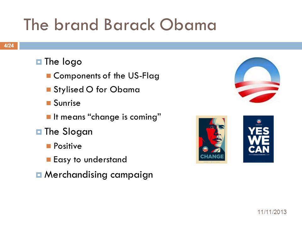 The brand Barack Obama The logo Components of the US-Flag Stylised O for Obama Sunrise It means change is coming The Slogan Positive Easy to understan