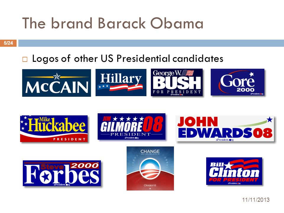 The brand Barack Obama Logos of other US Presidential candidates 11/11/2013 5/24
