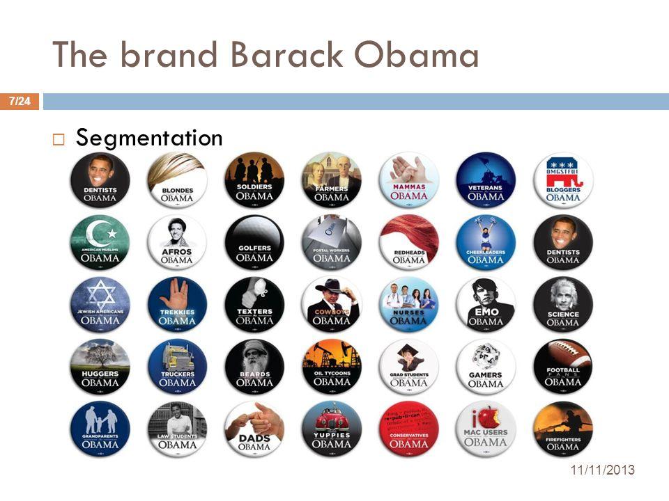 The brand Barack Obama Segmentation 11/11/2013 7/24