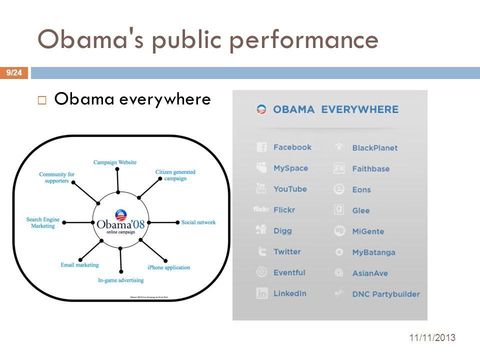 Obama's public performance Obama everywhere 11/11/2013 9/24