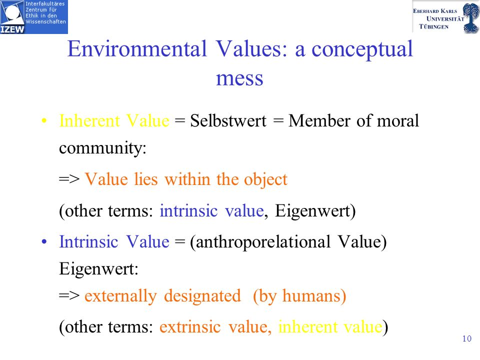 10 Environmental Values: a conceptual mess Inherent Value = Selbstwert = Member of moral community: => Value lies within the object (other terms: intrinsic value, Eigenwert) Intrinsic Value = (anthroporelational Value) Eigenwert: => externally designated (by humans) (other terms: extrinsic value, inherent value)
