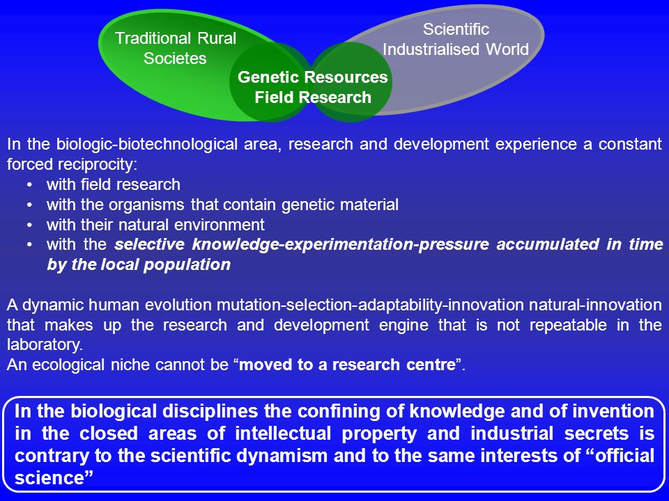 In the biologic-biotechnological area, research and development experience a constant forced reciprocity: with field research with the organisms that