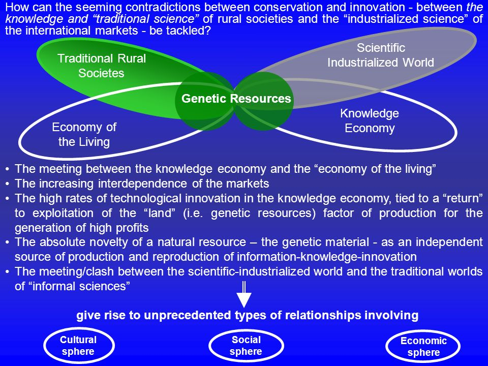 Genetic Resources The meeting between the knowledge economy and the economy of the living The increasing interdependence of the markets The high rates