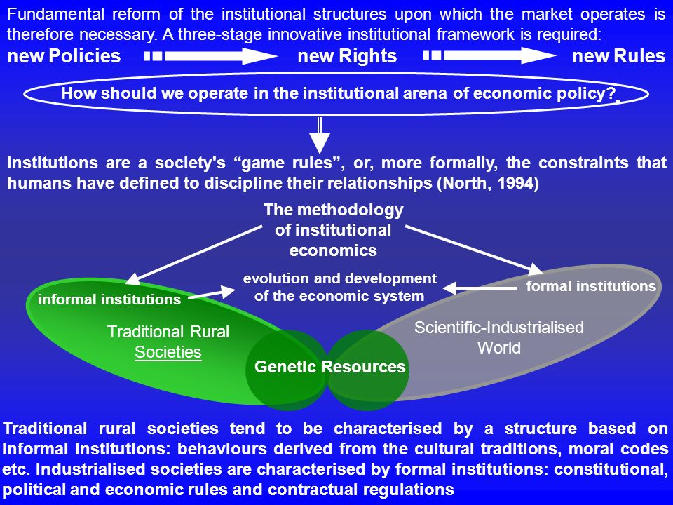 Fundamental reform of the institutional structures upon which the market operates is therefore necessary. A three-stage innovative institutional frame